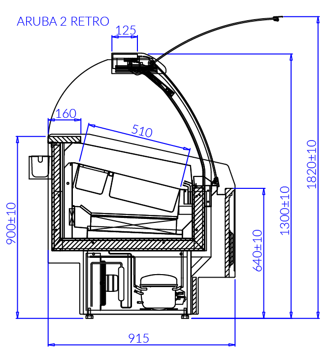 Technical drawing Aruba 2 Retro ARUBA 2 RETRO