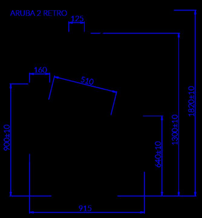 Technical drawing Aruba 2 Retro ARUBA 2 RETRO