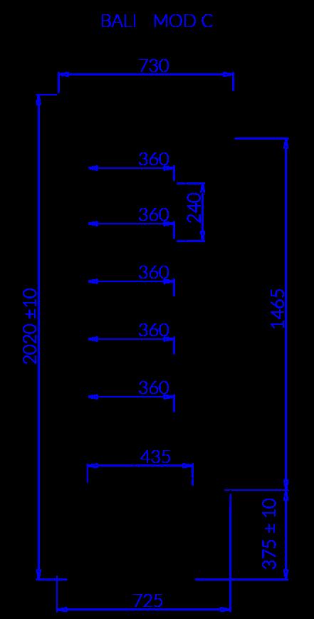 Technical drawing BALI MOD/C BALI MOD C