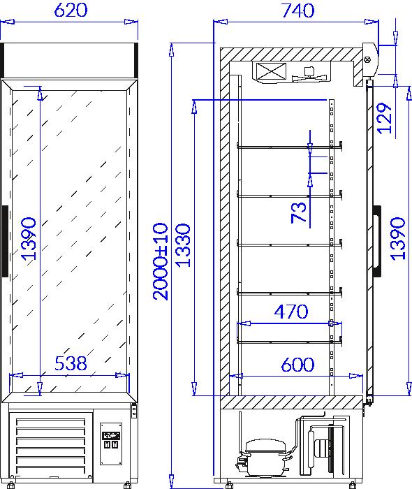 Technical drawing Beverage fridge cabinets EWA 1 NAP