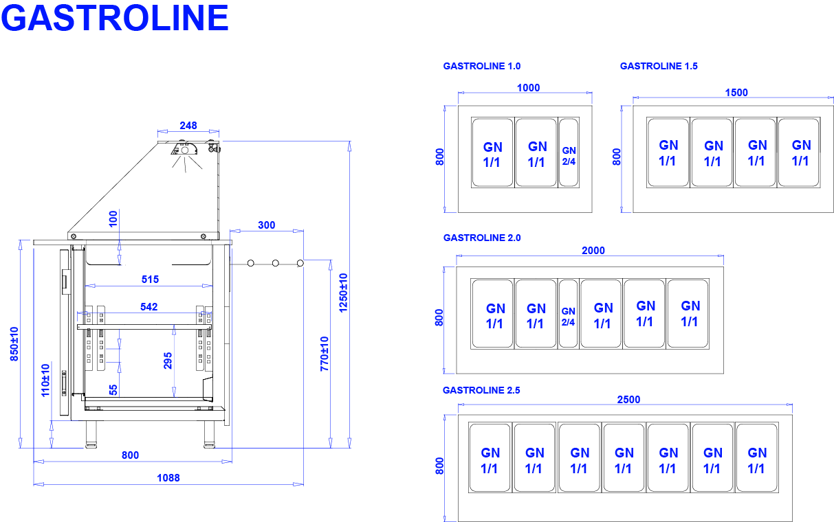 Technical drawing GASTROLINE GASTROLINE