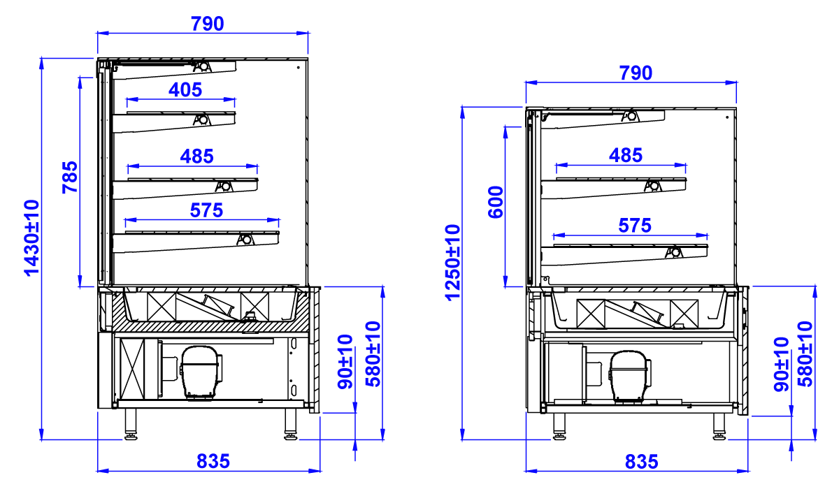 Technical drawing GASTROLINE CUBE W MOD C