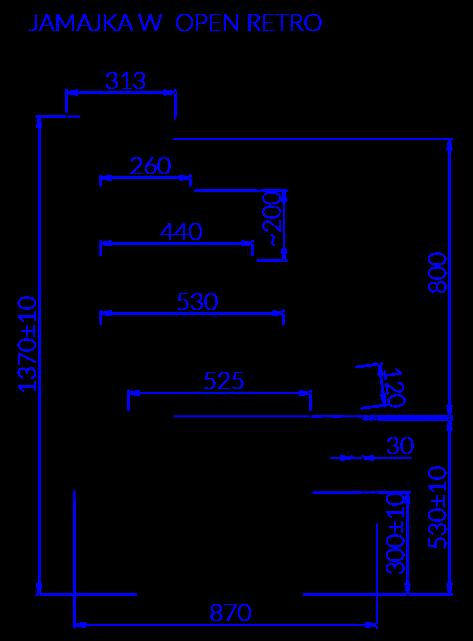 Technical drawing JAMAJKA W OPEN MOD C RETRO