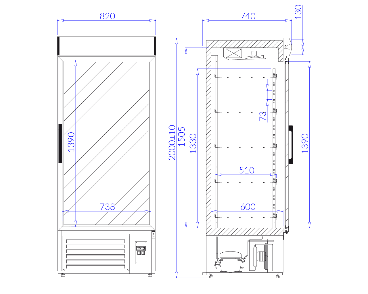 Technical drawing Beverage fridge cabinets JOLA 1 NAP