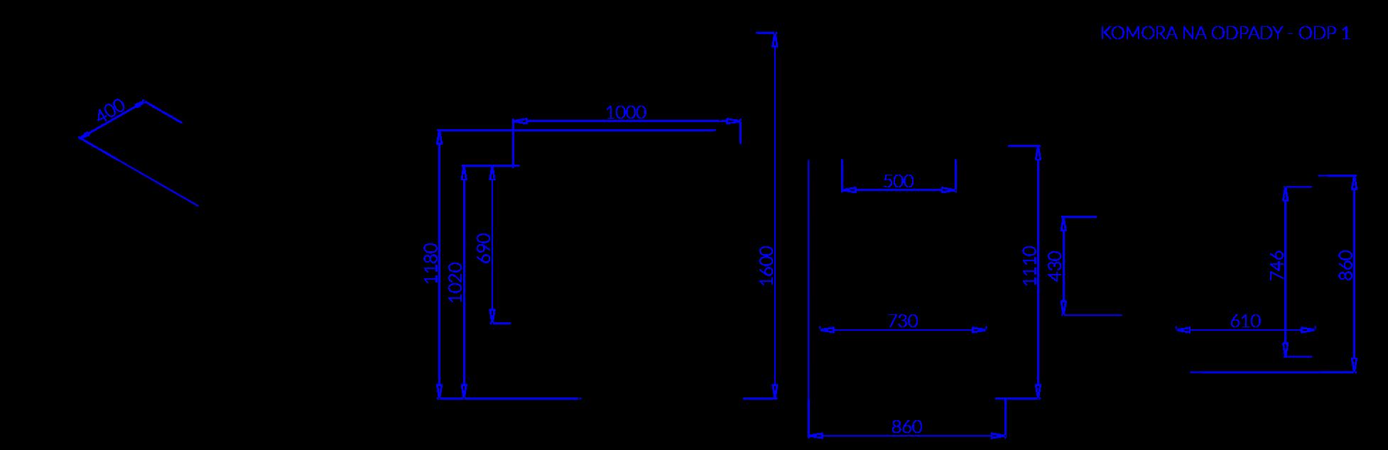 Technical drawing Waste chamber KOMORA ODP 1