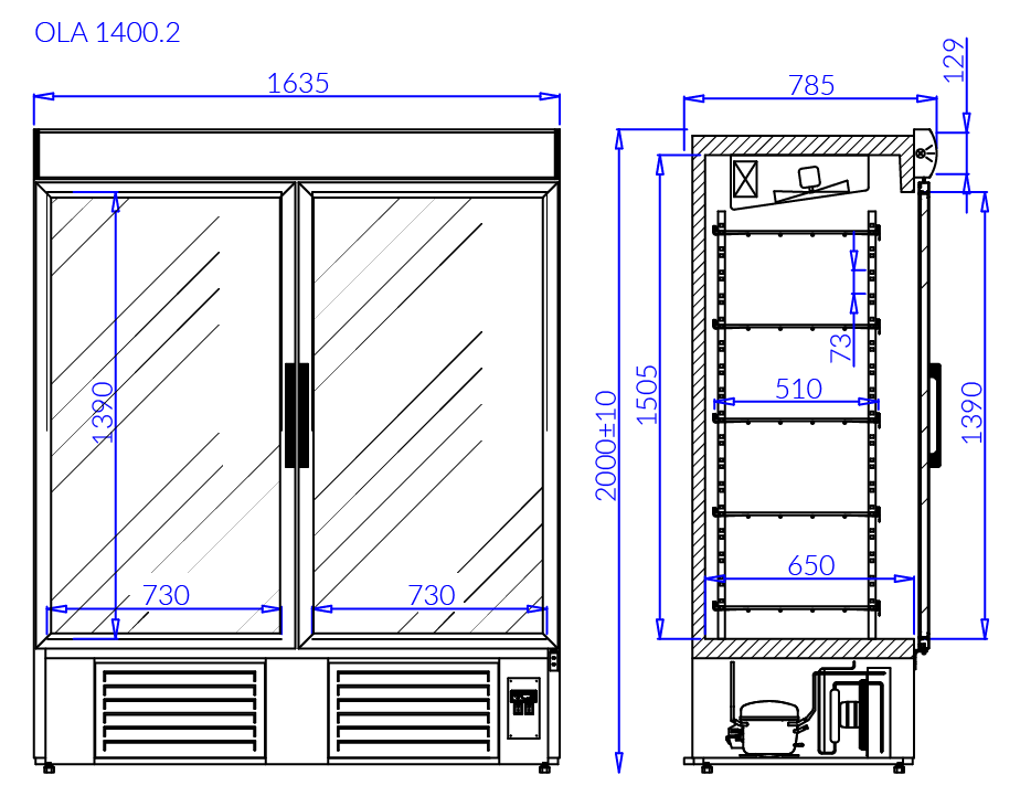 Technical drawing Beverage fridge cabinets OLA 2 NAP