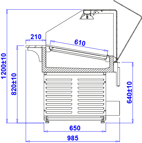 Technical drawing Heated display cases PASTELLA PG