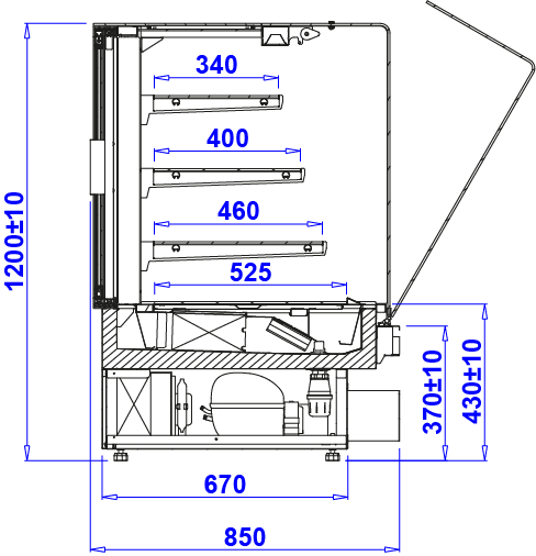 Technical drawing Pastry display counter PASTELLA SWEET