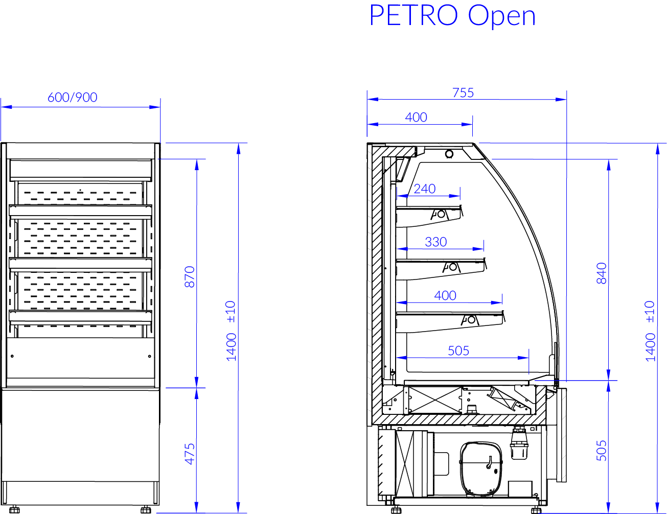 Technical drawing PETRO OPEN