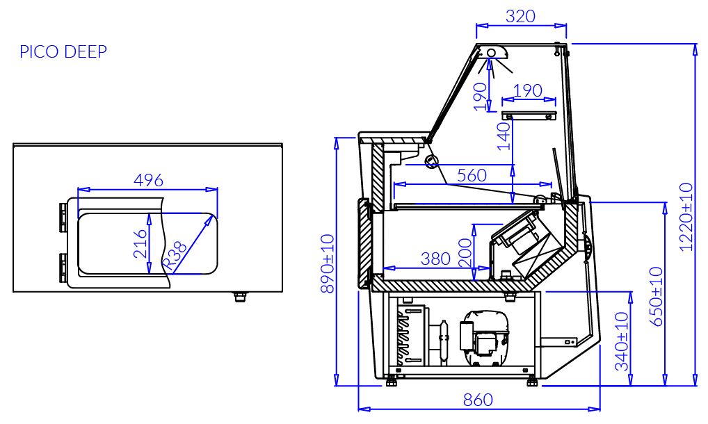 Technical drawing PICO DEEP
