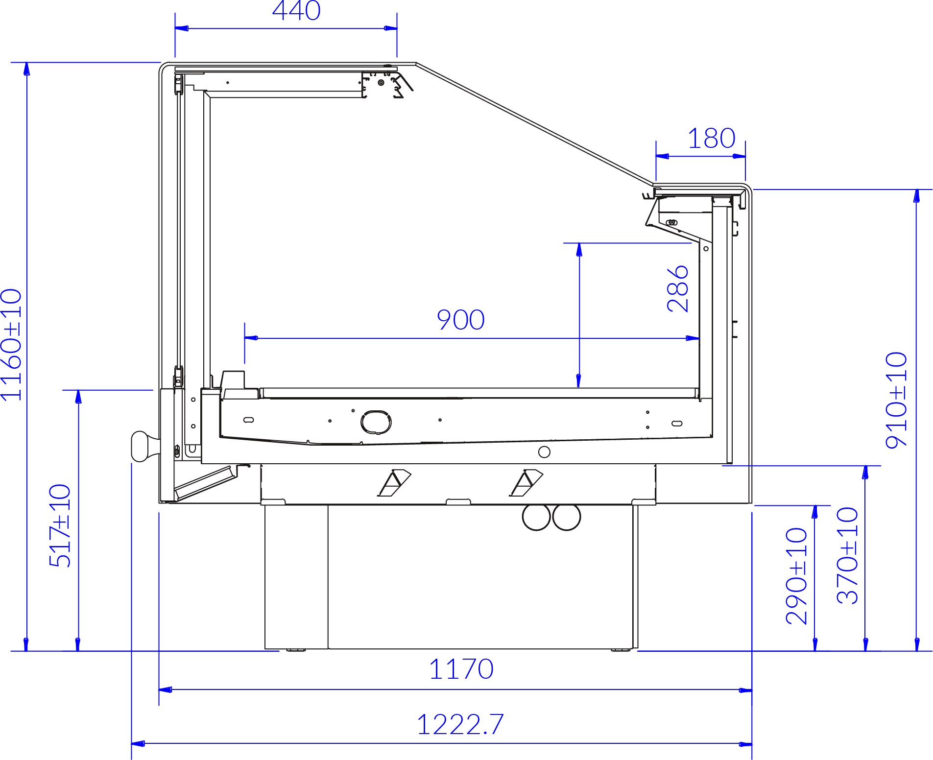 Technical drawing Refrigerated counter PROXIMA SQR