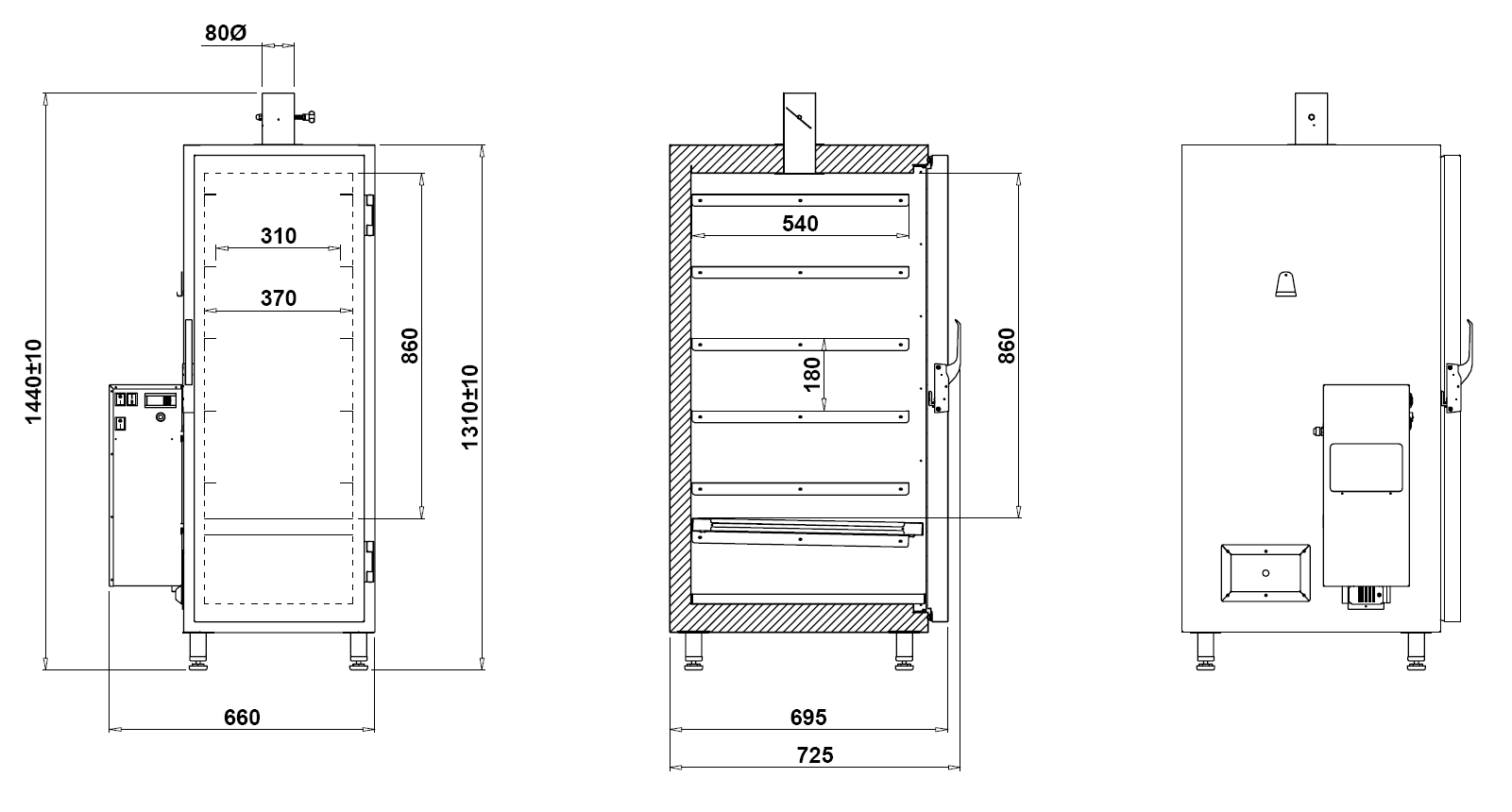 Technical drawing Smoking Chamber W200 Smoking Chamber W200