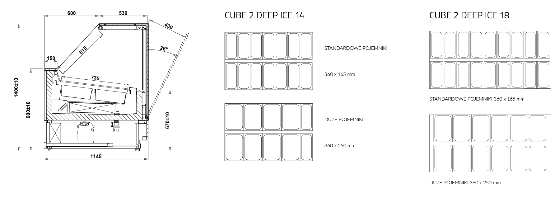 Технический чертеж Салатные витрины CUBE 2 DEEP ICE MOD C