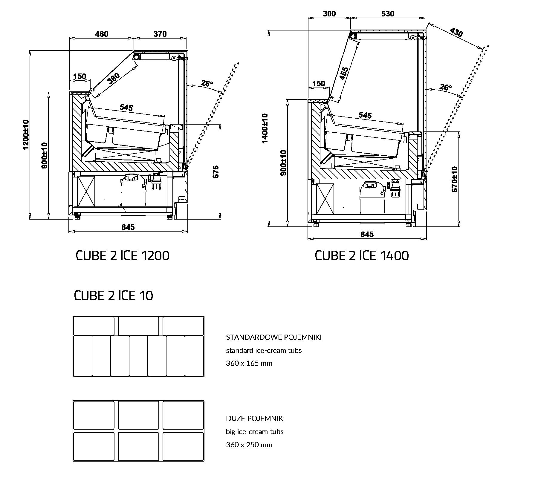 Технический чертеж Салатные витрины CUBE 2 ICE
