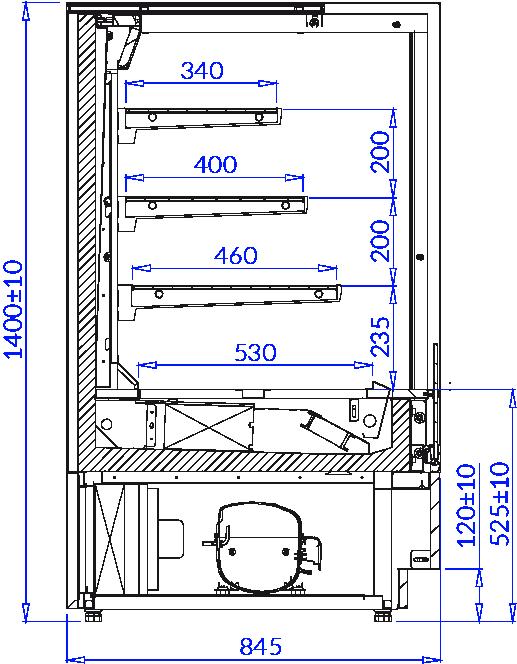 Технический чертеж Pastry display counter CUBE 2 OPEN
