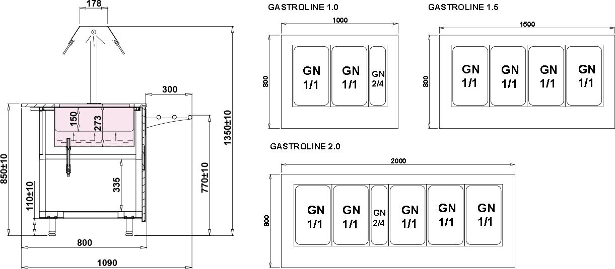 Технический чертеж GASTROLINE OPEN BEMAR