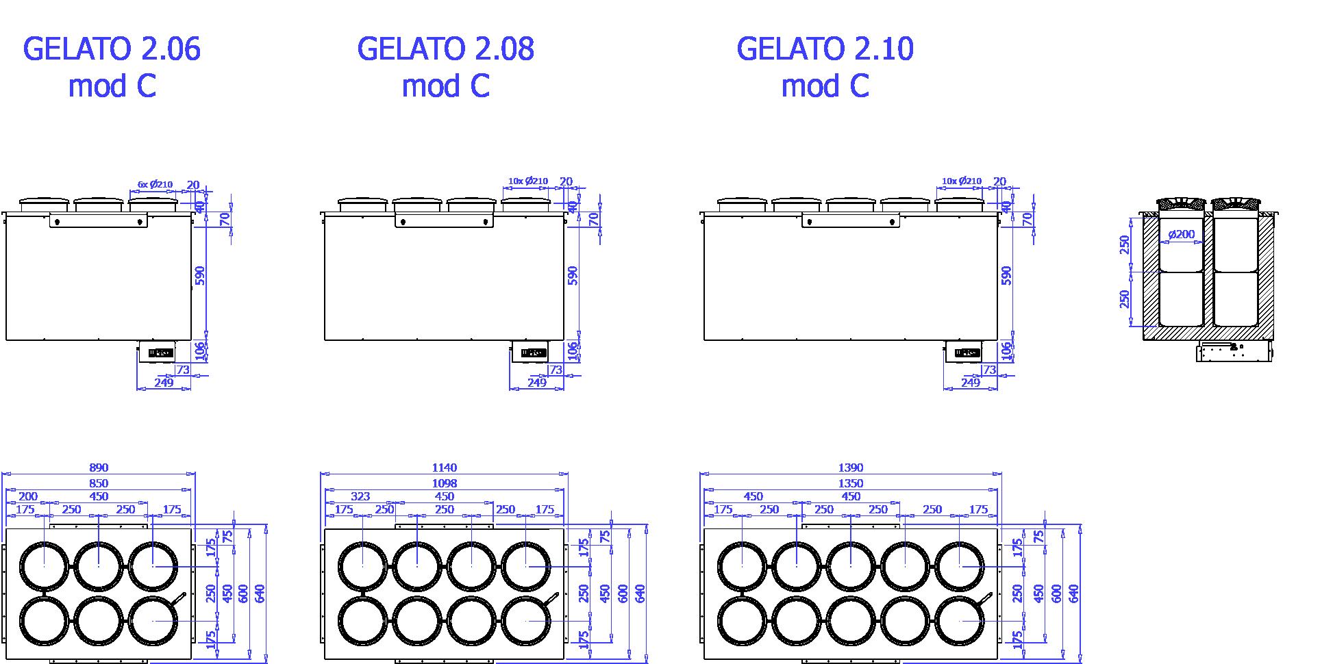 Технический чертеж GELATO 2 MOD C