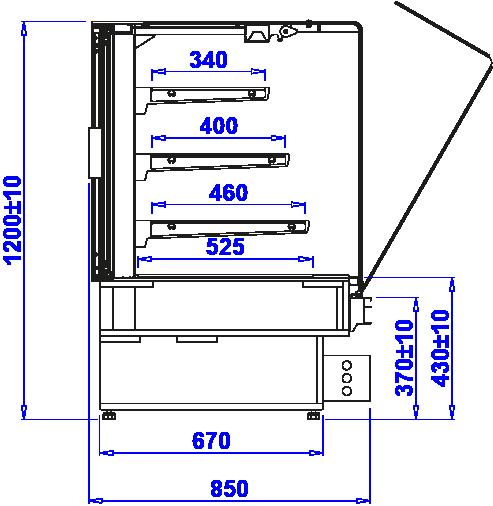 Технический чертеж Кондитерские витрины PASTELLA SWEET N
