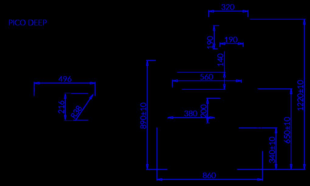 Технический чертеж PICO DEEP