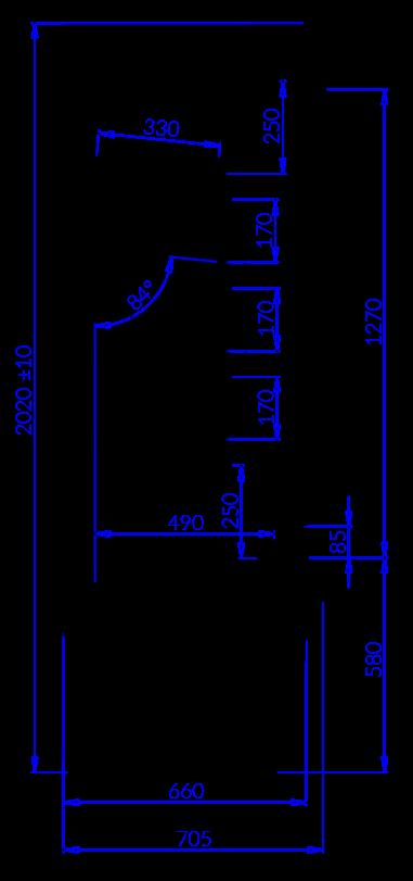 Технический чертеж Подогреваемый стеллаж ROBBEN Robben